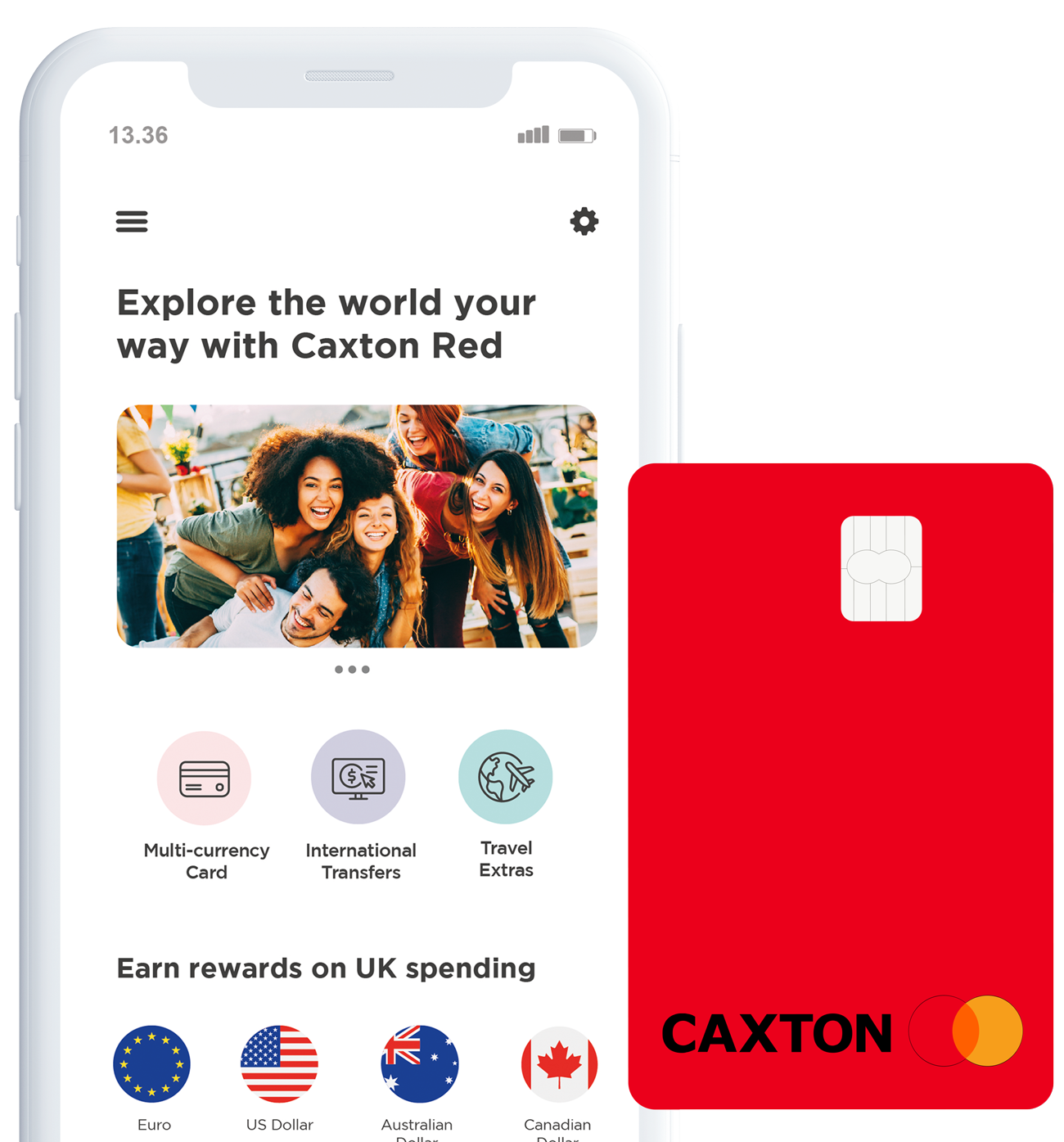 Caxton Best Currency Card UK - Red - Travel Money